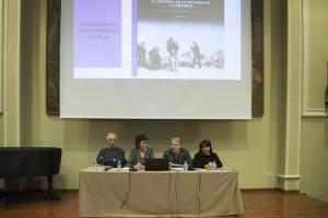 Taula de presentació de la monografia. D'esquerra a dreta: Francesc Guillamet, Anna Maria Puig, Josep Playà i Mariona Seguranyes (foto Manel Casanovas)